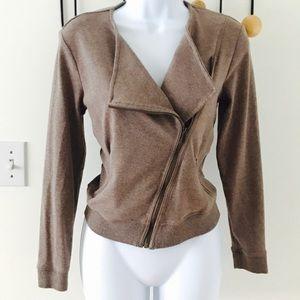 BR asymmetrical moto zip sweatshirt jacket